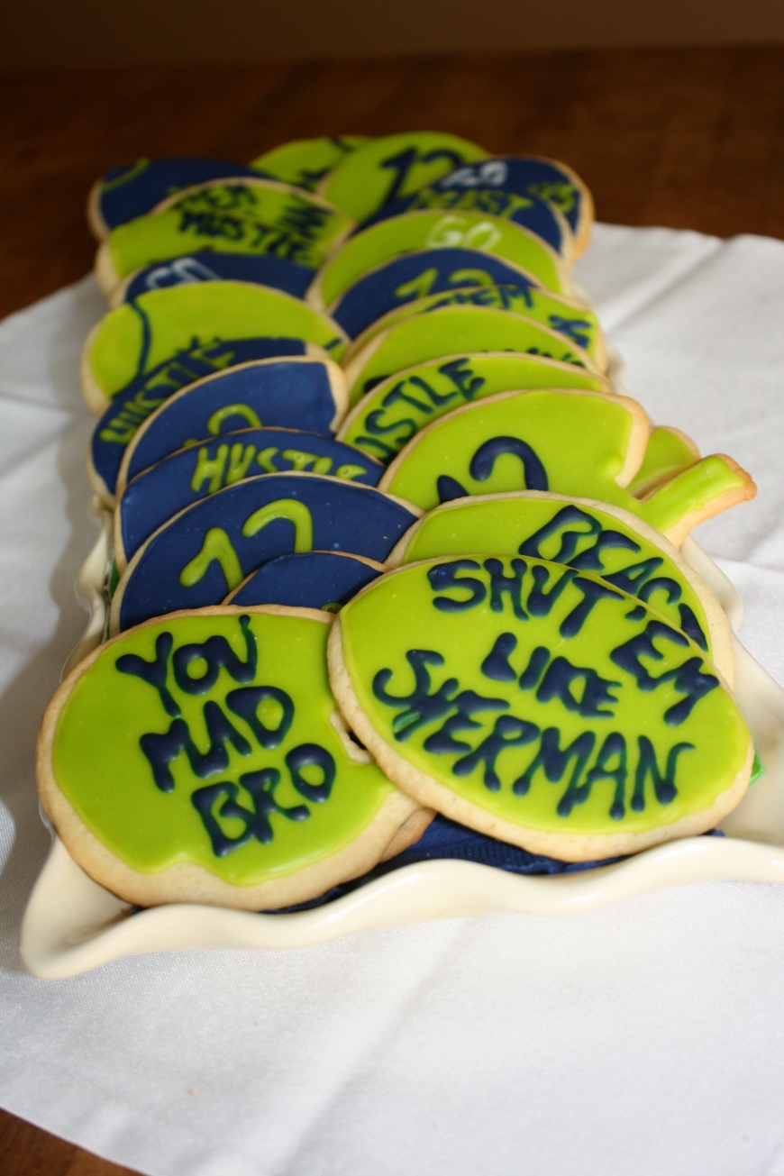 Seahawk Sugar Cookies with Caramel Royal Icing