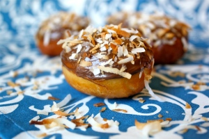Toasted Coconut Donut Holes with Coconut Cream Filling