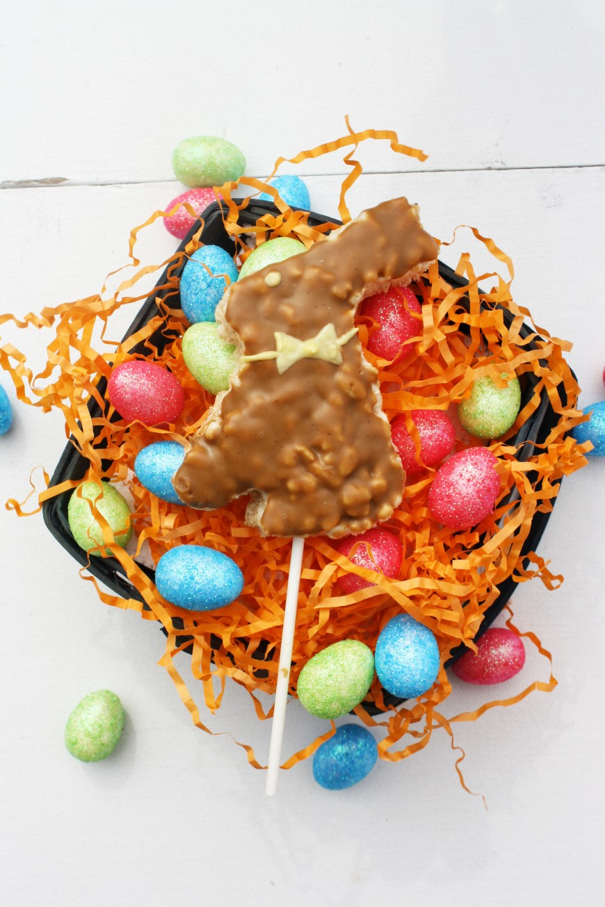 Bunny Rice Krispie Pops Dipped In Cookie Butter