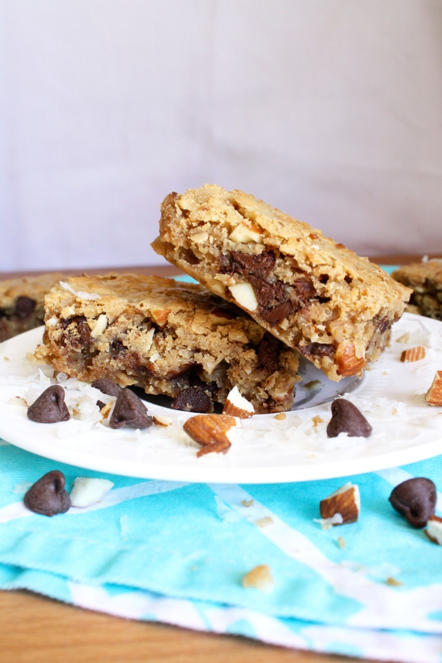 Toasted Coconut Almond Chocolate Blondies
