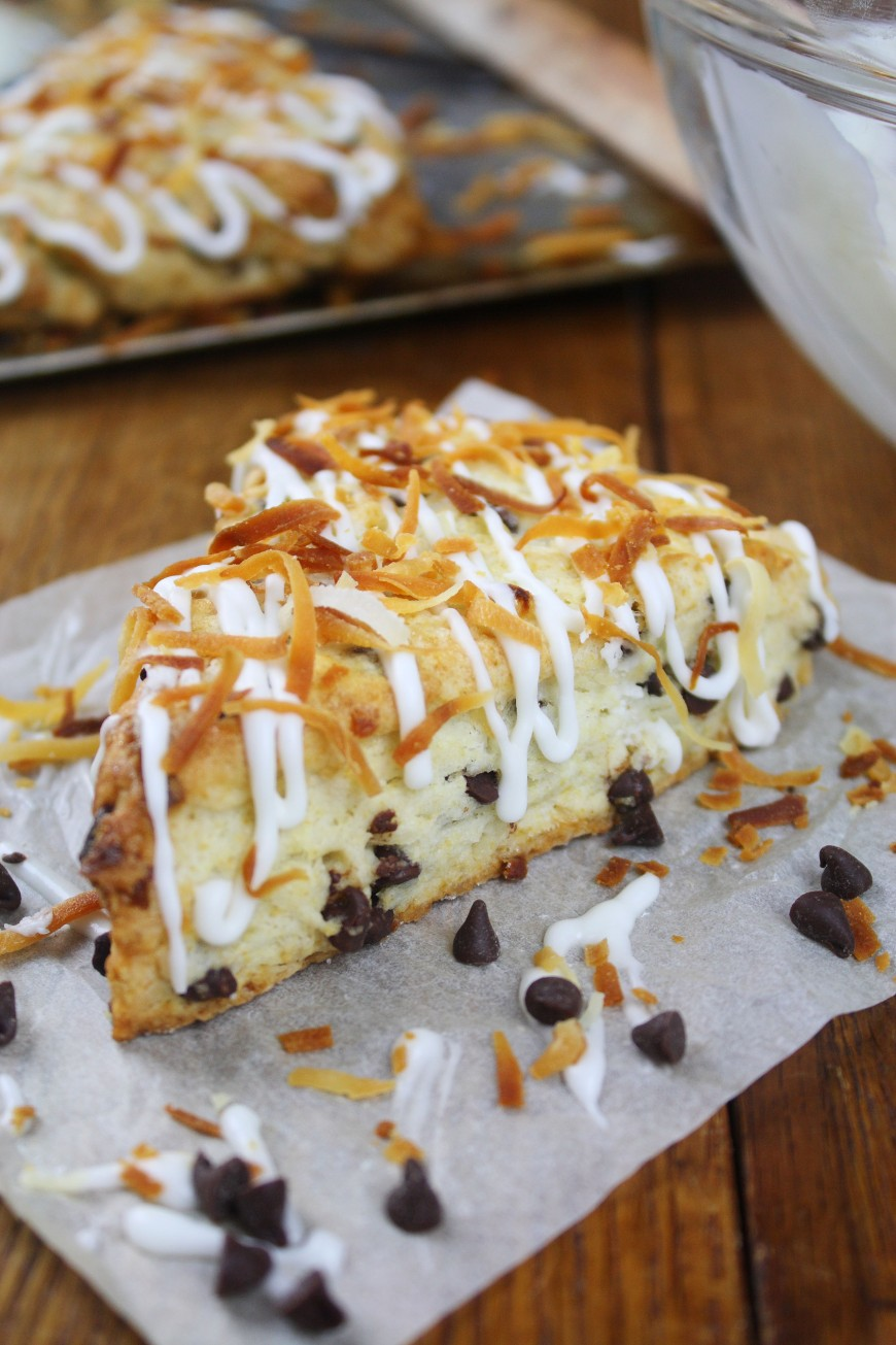Coconut & Chocolate Cream Scones