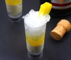 Pineapple Mimosa Granita with Vanilla Ice Cream